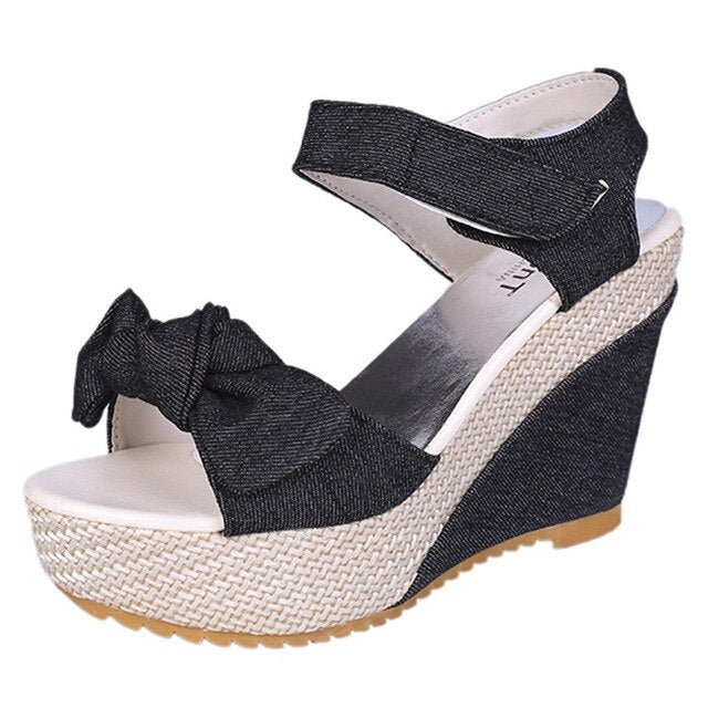 Summer Women Sandals Casual Hemp Rope Denim Bow Open Toe Wedge Sandals Solid High Quality Ladies