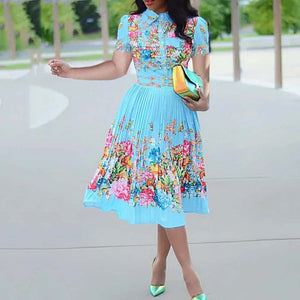Dinner African Autumn Floral Print Dress Plus Size 2020 Elegant Lady Party Robe Vestiods High Waist Pleated Midi Dress Tunic