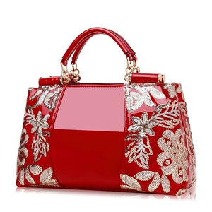 Red Patent Leather Ladies Handbag Shiny Shoulder Bags for Woman