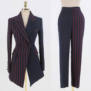 Ladies Office Striped Blazer Sets