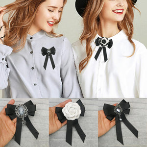 Black Bowtie Ribbon Bow Brooch Collar