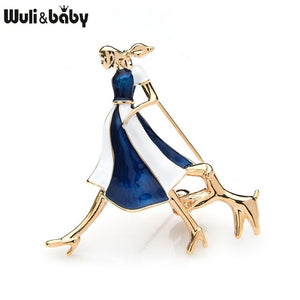 Enamel Girl And Dog Brooches For Women