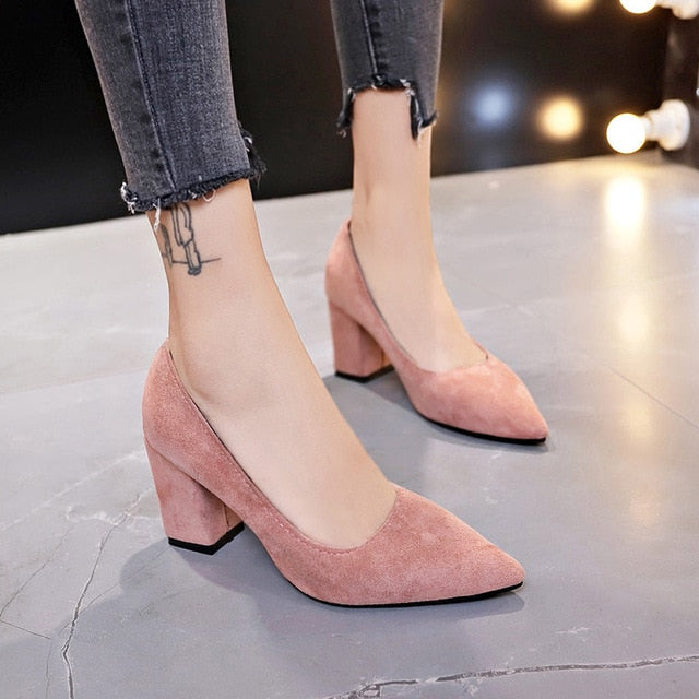 New Women Pumps Flock Sweet Thick High Heels Female Sexy Office Pointed Toe Dress Work Pump