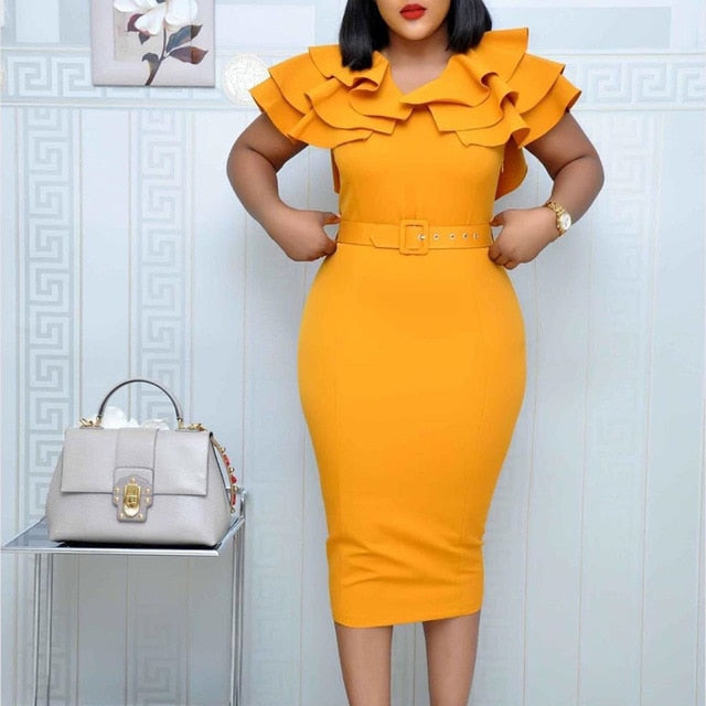 Falbala Elegant Women Party Dress Summer African Lady Office Short Sleeve Bodycon Dresses With Belt 2020