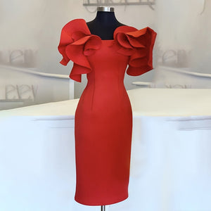 Women Red Bodycon Dresses Ruffles Stylish Party Event