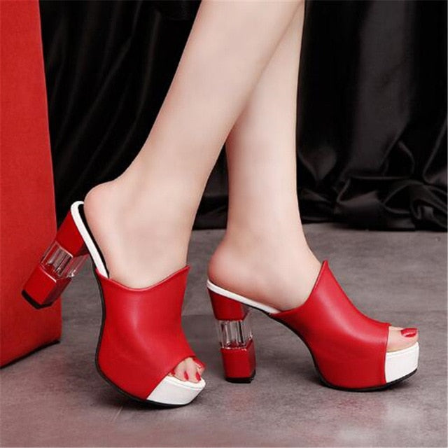 Women Sexy High Heel Mules Clogs Black Peep Toe Platform Mules Ladies Leather Sole Slippers