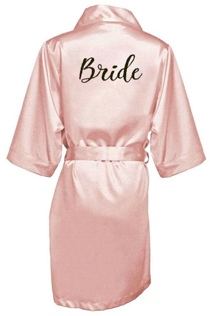 new bride bridesmaid robe with white black letters