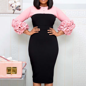 Elegant Patchwork Party Dress African Women Pleated Sleeve Bodycon Midi Dress Office Maxi Vestidos