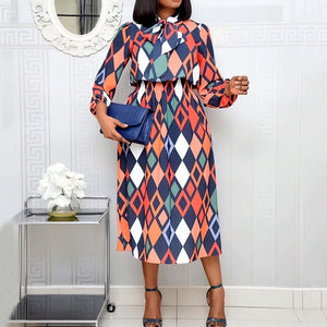 African Fashion Women Office Dress Vintage Geometric Print Lace-Up Bow Collar A Line Retro Ladies