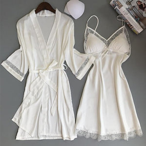 Sexy Women Rayon Kimono Bathrobe WHITE Bride