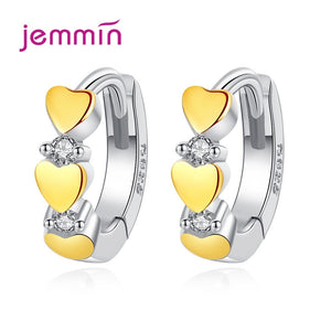 New Arrival Cute 3 Gold Heart CZ 925 Sterling Silver Small Lovely Huggies Hoop Earrings For Student  Girls Children Jewelry