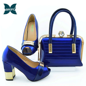 New Arrival royal blue Color  Italian Shoes and Bag Set Decorated with Rhinestone small size design