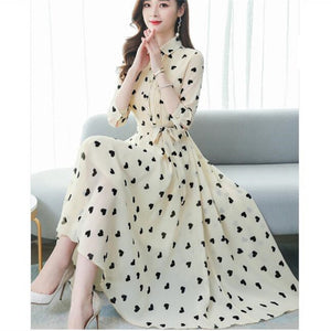 Korean summer style seven-point sleeve floral swing dress