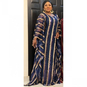 2020 Gorgeous Colorful Sequins Abaya Dress Plus Size Maxi Long Dress Gowns With Long