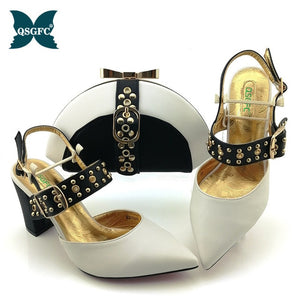 Shoes woman platform for African Ladies Italian design Shoes and Bag Set Decorated with Rhinestone Metal Decoration
