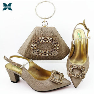 New Arrival Gold Color Italian design Shoes with Matching Bags Set