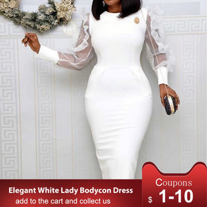 White African Women Bodycon Dress Mesh Long Sleeve 2020 High Waist Elegant Party Dinner Midi Dresses