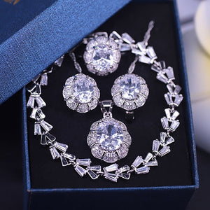 Bridal jewelry white crystal zircon silver color