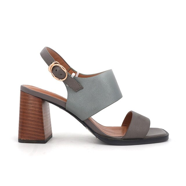 Women Sandals Thick Wood heels Spring Summer Autumn Shoes Genuine leather Buckle