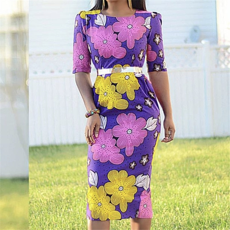 Women Purple Printed Bodycon Dress Short Sleeves Office Ladies Work Wear Slim Femme Vestido Modest