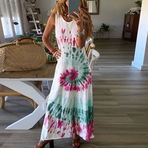 Off Shoulder Tie Dye Bandage Midi Dress
