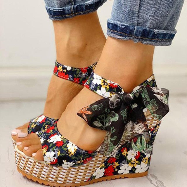 Women Sandals Dot Bowknot Design Platform Wedge Female Casual High Increas Shoes Ladies Fashion Ankle Strap