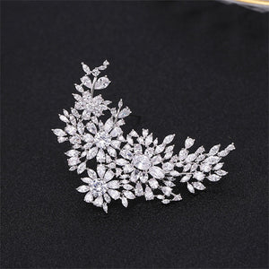 Vintage Flower Cubic Zirconia Brooches