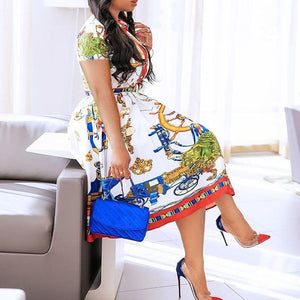 2020 African Elegant Plus Size Women Pleated Dresses