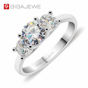 Moissanite 1.2ct 5.5mm+2X4.0mm Round Cut EF Color 925 Silver Ring Gold Multi-layer Plated Fashion Girlfriend Gift
