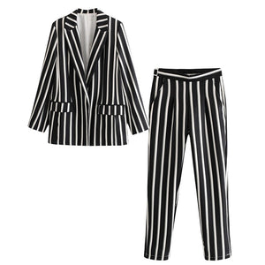 Slim black and white striped ladies jacket
