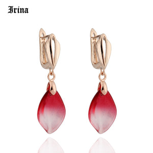 Coloured Glaze Petals Long Drop Water Earrings for Fashion