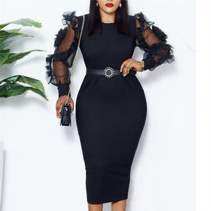 Black Dress O Neck Transparent Mesh Long Sleeves