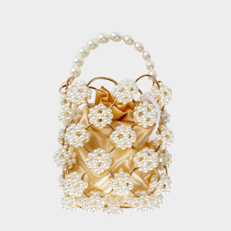 Retro cutout iron ring beaded bag hand-picked