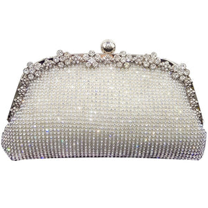 Double Flower Elegant Women Crystal Clutch