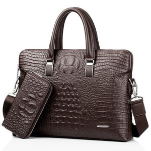 Men Business Handbag Cross Section Crocodile