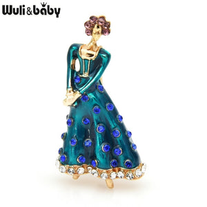 Enamel Dress Lady Brooches For Women