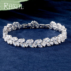 Romantic Cubic Zirconia Leaves Sweet Bracelet