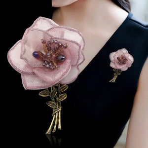 Korean Yarn Fabric Flower Brooch Pin Metal