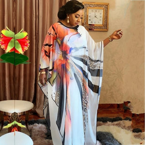 Vintage Plus Size African Chiffon Maxi Dress Bat Sleeve Casual Retro Elegant Women Evening Party