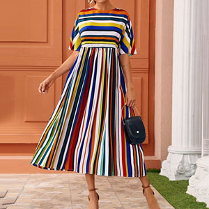Colorful Stripes Women Dress High Waist A-line 2020 Summer Sundress Robe Femme African Elegant Office