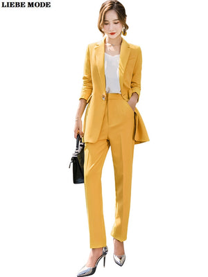 Ladies Business Yellow Blazer Suit