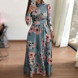 Women autumn Dress 2020 Casual Long Sleeve Long Dress Boho Floral Print Maxi Dress