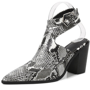 2020 fashion Big Size 42 Square high heels Top Quality Elegant Lady snake skin summer spring