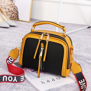 Fashion Stitching Shoulder Bag Women PU Leather Handbag Luxury Crossbody Bag