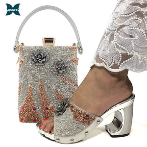 New Arrival Fashionable Italian Shoes and Bag Sets Silver Color Women's