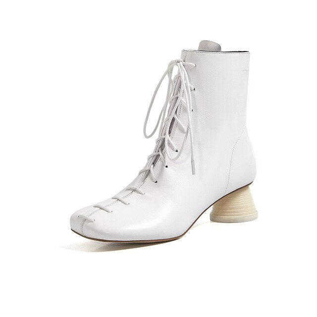 Spring Autumn Boots Shoes Women White Black Genuine Leather Lace-up High Heel Fashion Solid Footwear