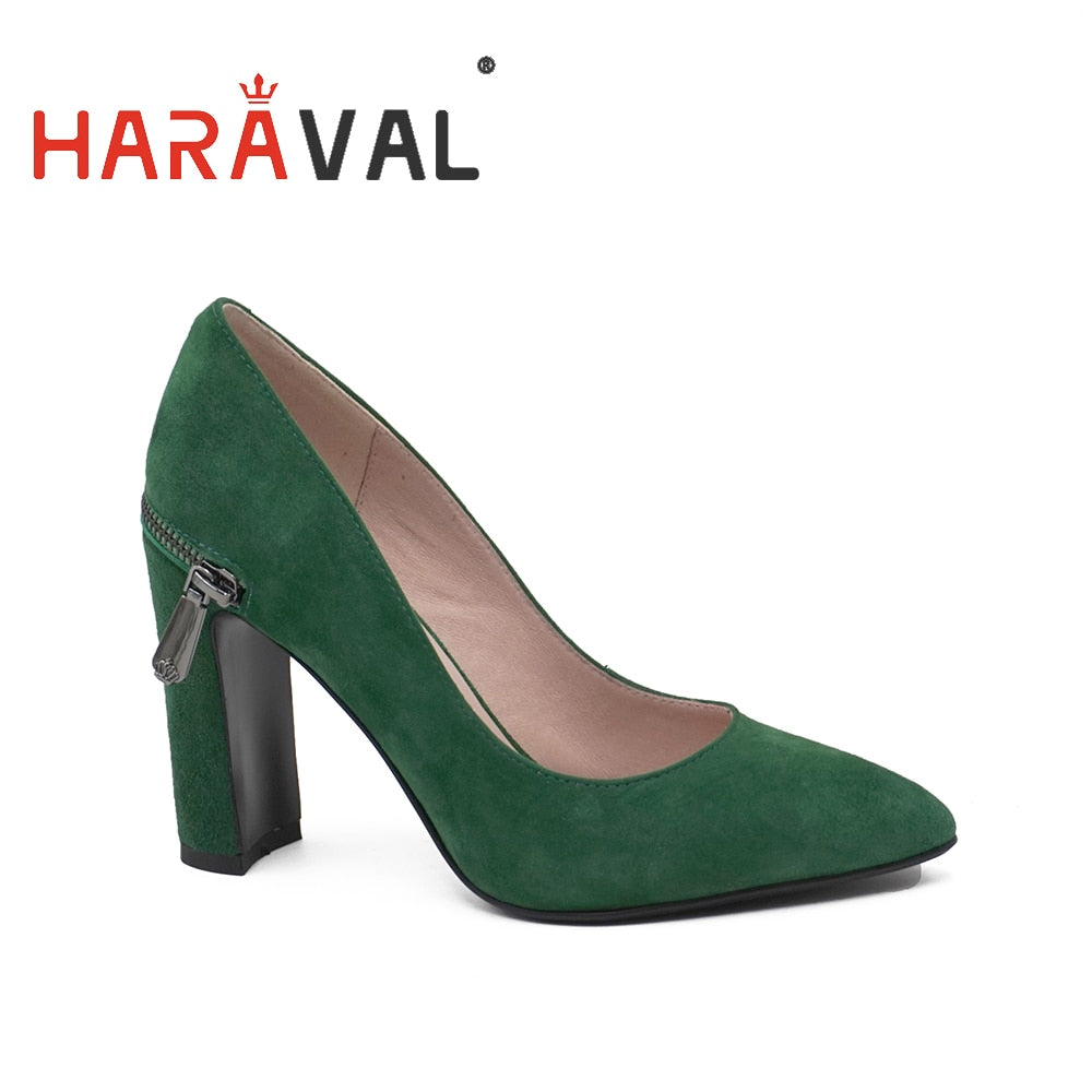 green and black pumps