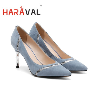 2020 spring single shoes  new pointy fashion women's shallow mouth shoes Kid Suede commute high heel