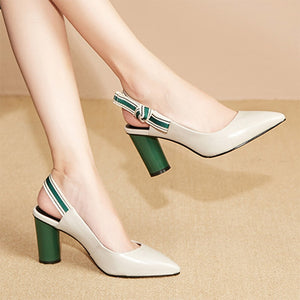 2020 Summer New Pointed Toe Sandals High Heels Dress Shoes Slingbacks Women Pumps
