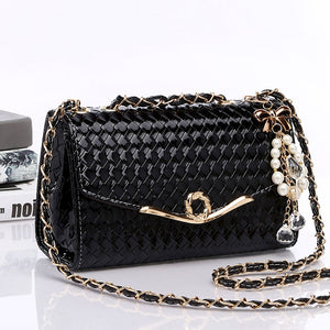 PU Leather Plaid Shoulder Bags For Women Pearl Chains Trendy Female Crossbody Bag
